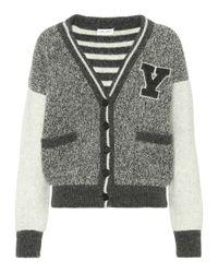 Cárdigan universitario de lana Saint Laurent de color Multicolor