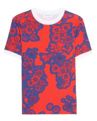 Carven Red Floral-printed Cotton Top