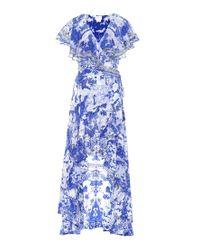 Abito The Fan Sea a stampa in seta di Camilla in Blue