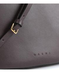 Marni Brown Pannier Leather Handbag