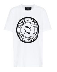 PUMA White X Balmain T-Shirt aus Baumwolle
