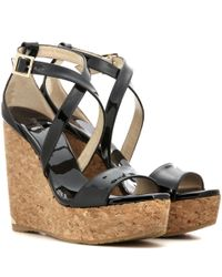 Jimmy Choo - Black Portia 120 Patent Leather Wedge Sandals - Lyst