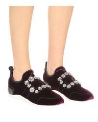 Roger Vivier Purple Sneakers Sporty Viv' aus Samt