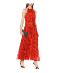 Robe longue en soie à pois Diane von Furstenberg en coloris Red
