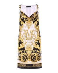 Versace Multicolor V Barocco Satin Dress