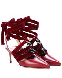 Valentino Red Valentino Garavani Leather And Velvet Pumps