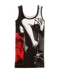 Miu Miu Black Printed Twill Tank Top