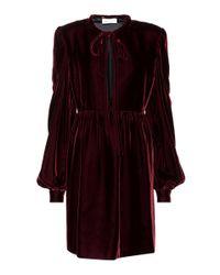 Saint Laurent Red Long-sleeved Velvet Dress