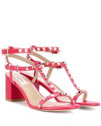 Valentino - Pink Garavani Rockstud Leather Sandals - Lyst