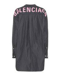 Balenciaga Black Oversized Striped Cotton Shirt