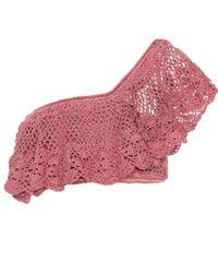 Top à encolure bardot en crochet Filigree Anna Kosturova en coloris Pink