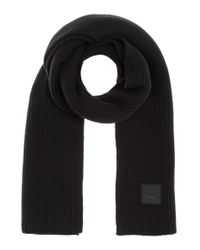 Acne - Black Bansy Face Knitted Wool Scarf - Lyst