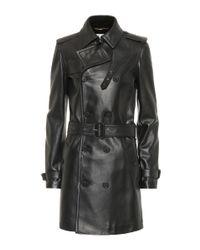 Saint Laurent Black Trenchcoat aus Leder