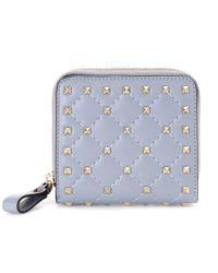 Valentino Blue Valentino Garavani Rockstud Leather Wallet