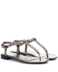 Balenciaga Gray Giant Stud Leather Sandals