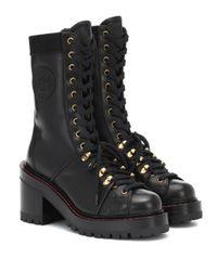 Bottines V-Alpine en cuir Versace en coloris Black