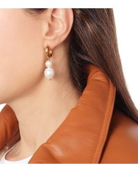 Timeless Pearly Metallic Mismatched Gold-plated Earrings
