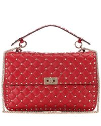 Valentino Red Rockstud Spike Chain Leather Shoulder Bag