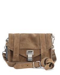 Proenza Schouler - Brown Ps1 Mini Crossbody Suede Shoulder Bag - Lyst