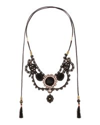 Gucci - Black Velvet Necklace With Crystals And Beads - Lyst