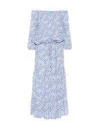 Robe midi Carmen imprimée à encolure bardot Melissa Odabash en coloris Blue