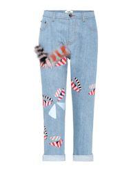 Jeans cropped con adornos Fendi de color Blue