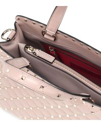 Valentino - Pink Rockstud Spike Leather Tote - Lyst