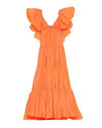 Valentino Orange Ruffled Taffeta Gown