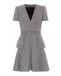 Alexander McQueen Black Plaid Wool Dress