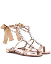 Aquazzura Metallic Mustique Leather Sandal