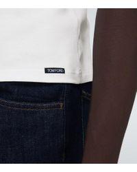 T-shirt in cotone di Tom Ford in White da Uomo