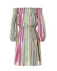 Diane von Furstenberg Multicolor Gestreiftes Off-Shoulder Kleid aus Baumwolle