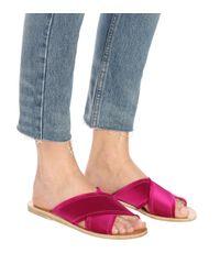 Ancient Greek Sandals Pink Sandalen Thais aus Satin mit gekreuzten Riemen