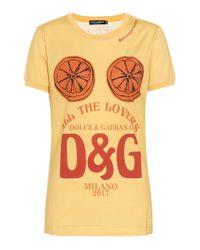 Dolce & Gabbana Yellow Bedrucktes T-Shirt aus Baumwolle