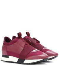 Balenciaga Purple Sneakers Race Runner mit Leder