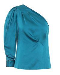Peter Pilotto Blue One-Shoulder-Bluse aus Satin