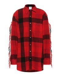 Camicia a quadri in lana con frange di Vetements in Red