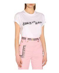 Jeans a vita alta di Versace in Pink
