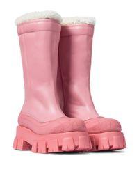 Prada Pink Gefütterte Stiefel Monolith aus Leder