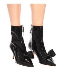 Rochas Black Ankle Boots aus Lackleder
