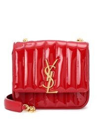 Saint Laurent Red Schultertasche Small Vicky aus Lackleder