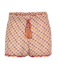 Talitha Orange Silk And Cotton Printed Shorts