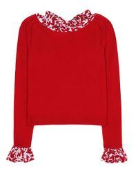 Oscar de la Renta Red Wool Sweater