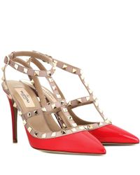 Valentino Red Rockstud 100 Patent-leather Courts