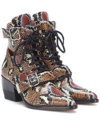 Chloé Multicolor Ankle Boots Rylee aus Leder