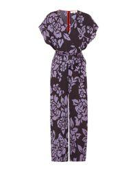 Diane von Furstenberg Purple Jumpsuit mit Print