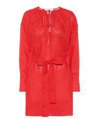 Vestido corto Santorini de lino Asceno de color Red