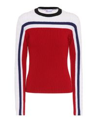 RED Valentino Red Striped Wool Sweater