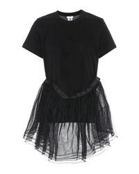 Noir Kei Ninomiya Black Tulle-trimmed Cotton T-shirt