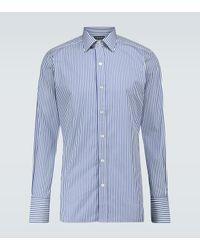 Tom Ford Gestreiftes Hemd aus Baumwolle in Blue für Herren